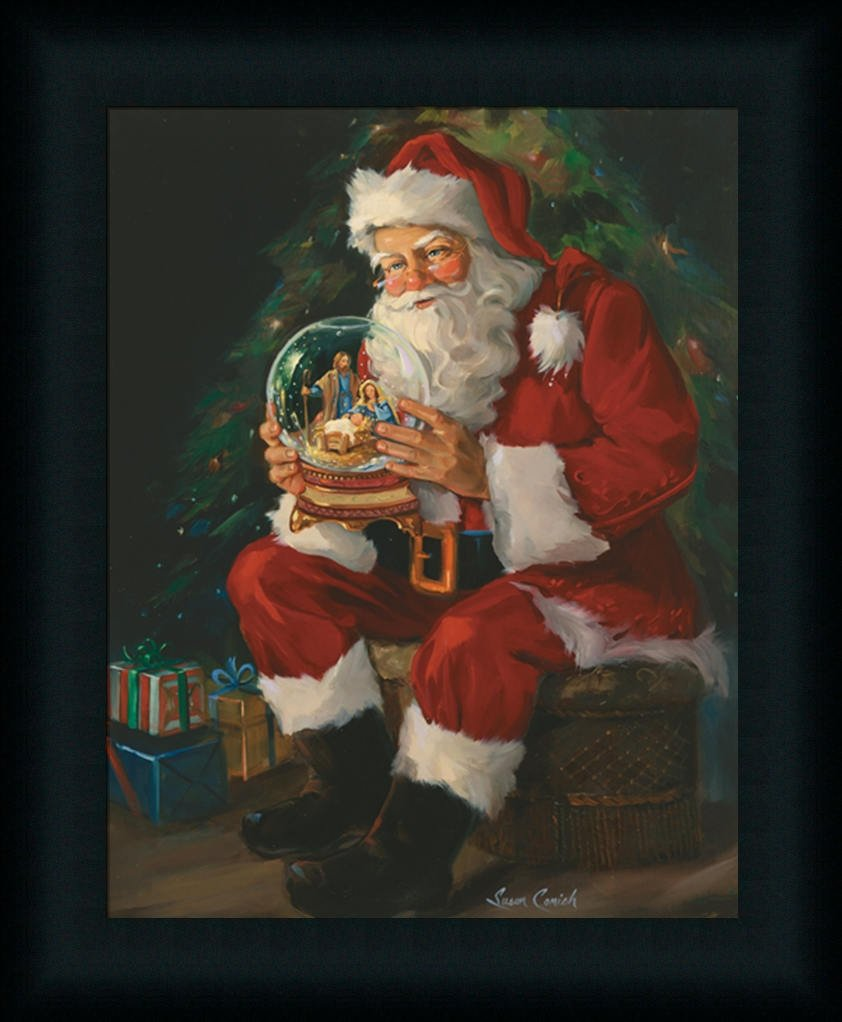 Amazon santa believes by susan comish santa claus holding amazon santa believes by susan comish santa claus holding nativity snow globe framed art print picture santa and nativity art prints posters prints jeuxipadfo Choice Image