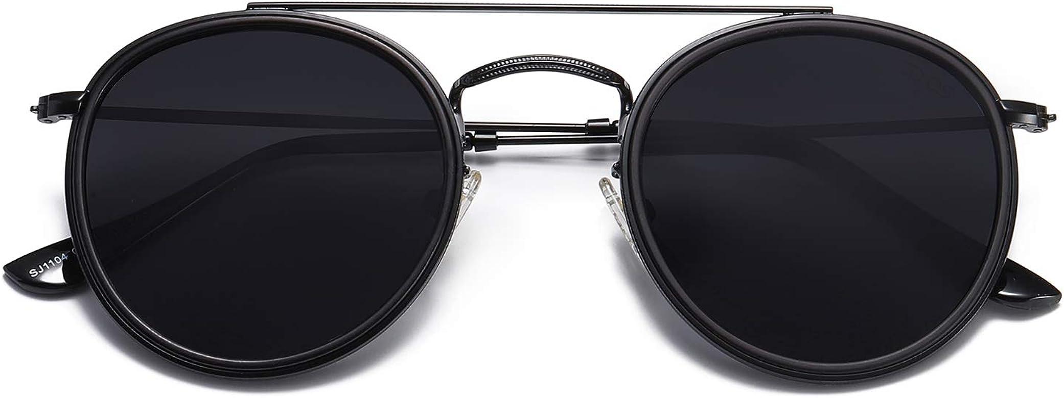 SOJOS Occhiali da Sole Uomo e Donna Rotondi Polarizzati Doppio Ponte Specchiati Montatura in Metallo Unisex SUNSET SJ1104