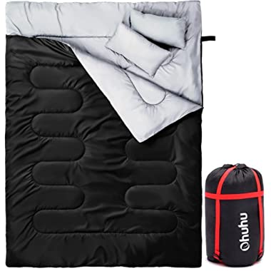 Ohuhu Double Sleeping Bag 2 Pillows A Carrying Bag, Waterproof Lightweight 2 Person Sleeping Adult Bag Camping, Backpacking, Hiking