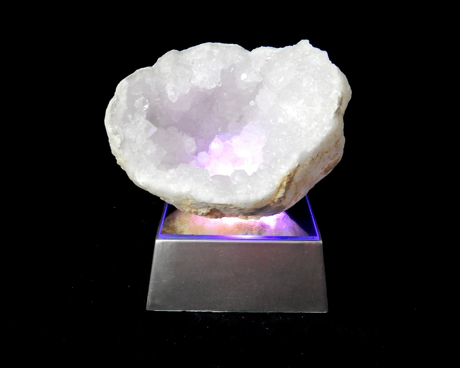 Amazing Large Half Geode Druzy on Mirrored Multicolored Continuously Changing LED Light Stand Base