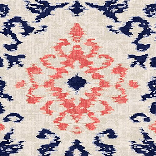 - Carousel Designs Navy and Coral Ikat Damask Fabric by The Yard - Organic 100% Cotton