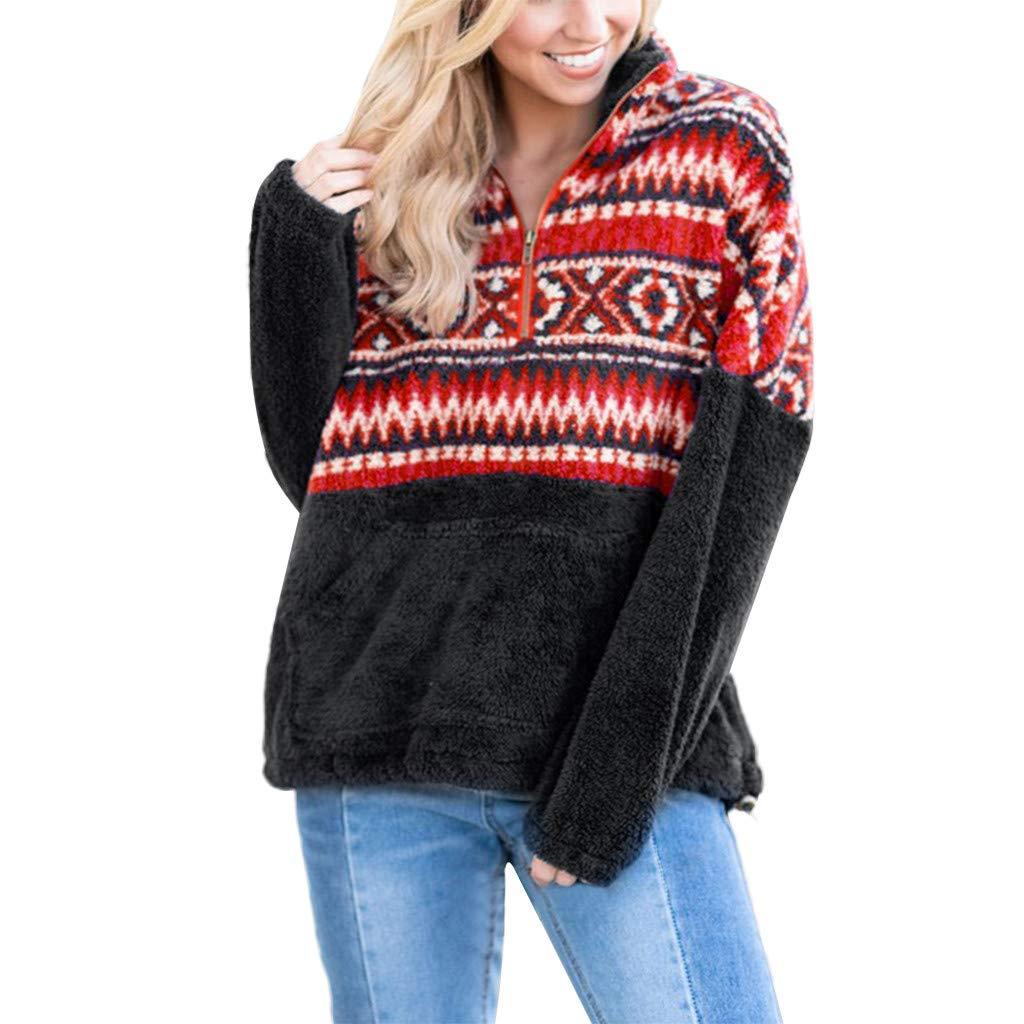 Oasisocean Winter Warm Blouse Womens Long Sleeve Print Tops Sweatshirt Zipper Fleece Pullover Tee Shirt fenjunshangmao