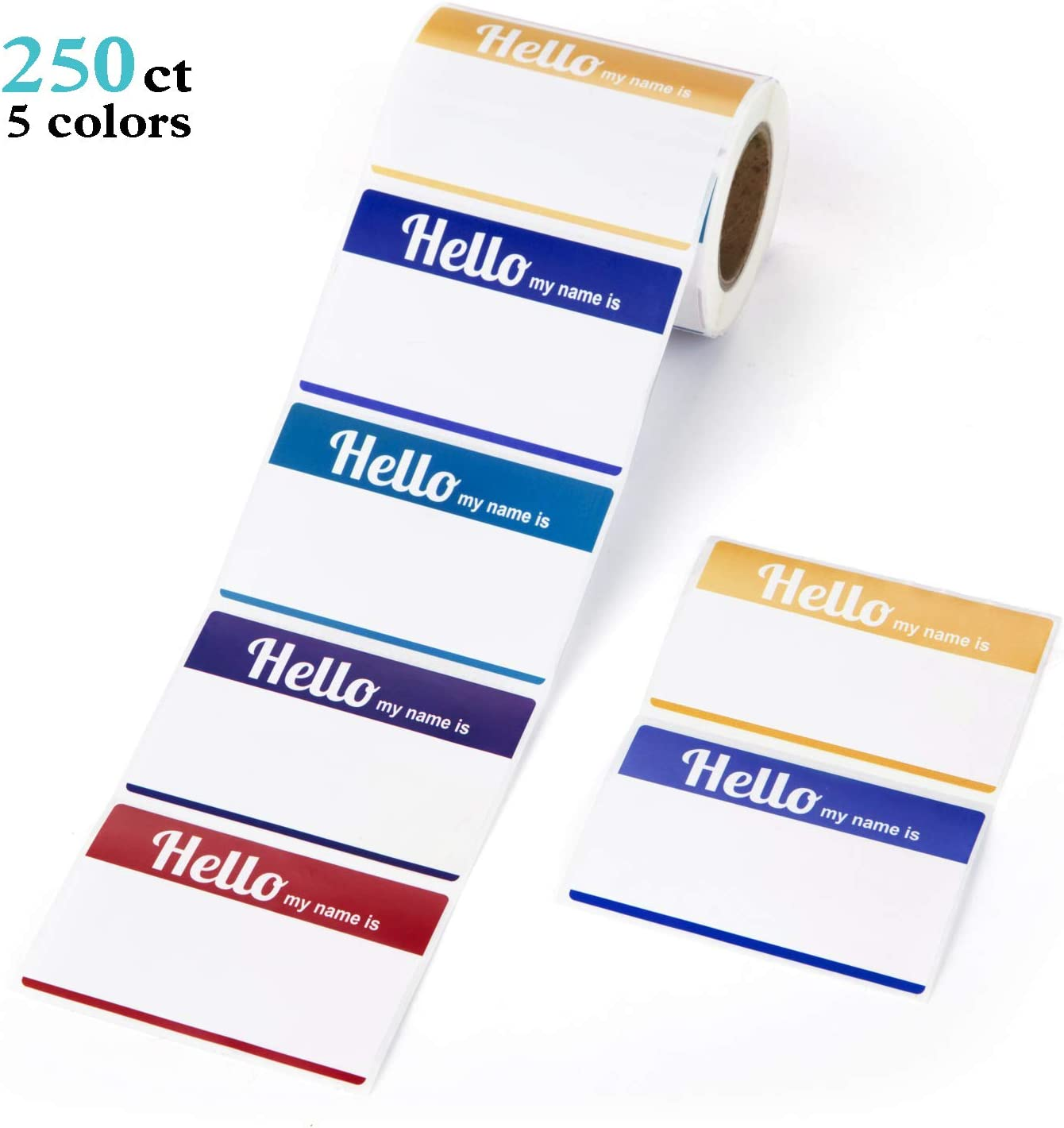 School Meeting Teachers Mionno 5 Colors Adhesive Name Tags 500pc 3.5 x2.25 Plain Name Tag Sticker//Category Tags for Office Parties Kindergarten Warehouses and Mailing
