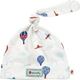 Piccalilly Newborn Baby Boys Hat Organic Cotton Jersey Hot Air Balloon Vintage Plane Design