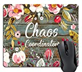Wknoon Funny Quote Gaming Mouse Pad Custom, Chaos Coordinator Quotes Vintage Colored Floral Wreath Print Rustic Old Wood Art Mouse Pads