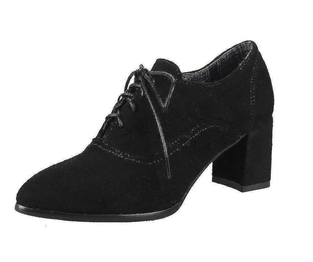 AgeeMi Shoes Donna Allacciare Tacco Medio Punta Chiusa Suede Ballet-Flats EuD83