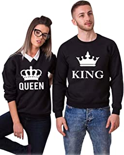 Minetom Casual Couronne King Queen Tshirt Lettre de King ou Queen  Sweatshirt Couple Sweats Manches Longues 176122eef61b
