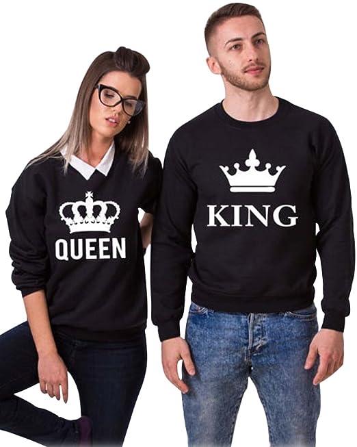 Minetom Hombre Mujer Impreso Parejas Tops King Queen Corona Impresión Sudaderas Casual Manga Larga Blusa Jersey