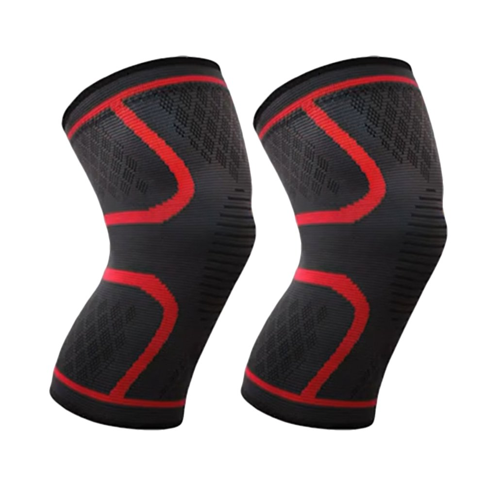 ITODA 保護膝パッド ユニセックス 衝突回避 圧縮サポートニット 滑り止め アウトドアレッグスリーブ すね サイクリング スポーツ 安全 膝ブレース メンズ レディース B07JPLJ8MD レッド