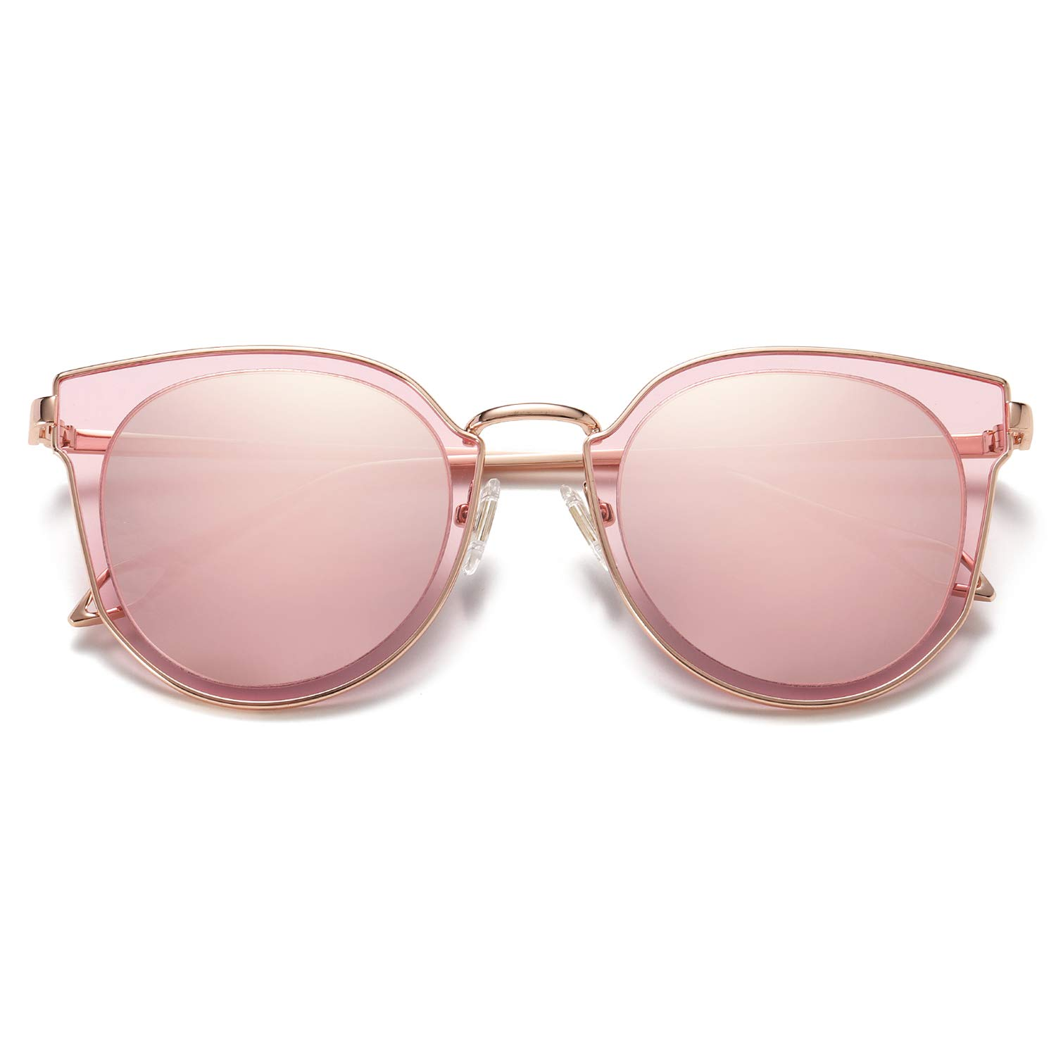 SOJOS Fashion Round Polarized Sunglasses for Women UV400 Mirrored Lens SJ1057 with Rose Gold Frame/Pink Mirrored Lens by SOJOS