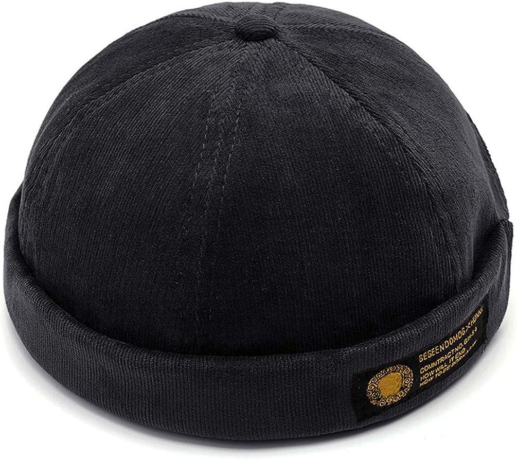 COTZFUS Mens Retro Crimping Brimless Skull Caps Autumn Winter Cap Beanies for Men Beanie Hat Slouchy Hip Hop Bonnet