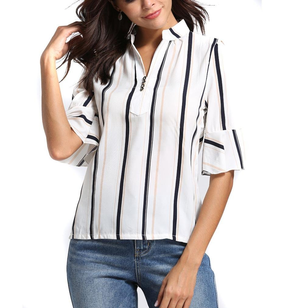 Yihaojia Vertical Stripes Summer Half Sleeve V-Neck Womens Blouse Wild Slim Short Sleeve Comfy Casual T-Shirt (White, L2)