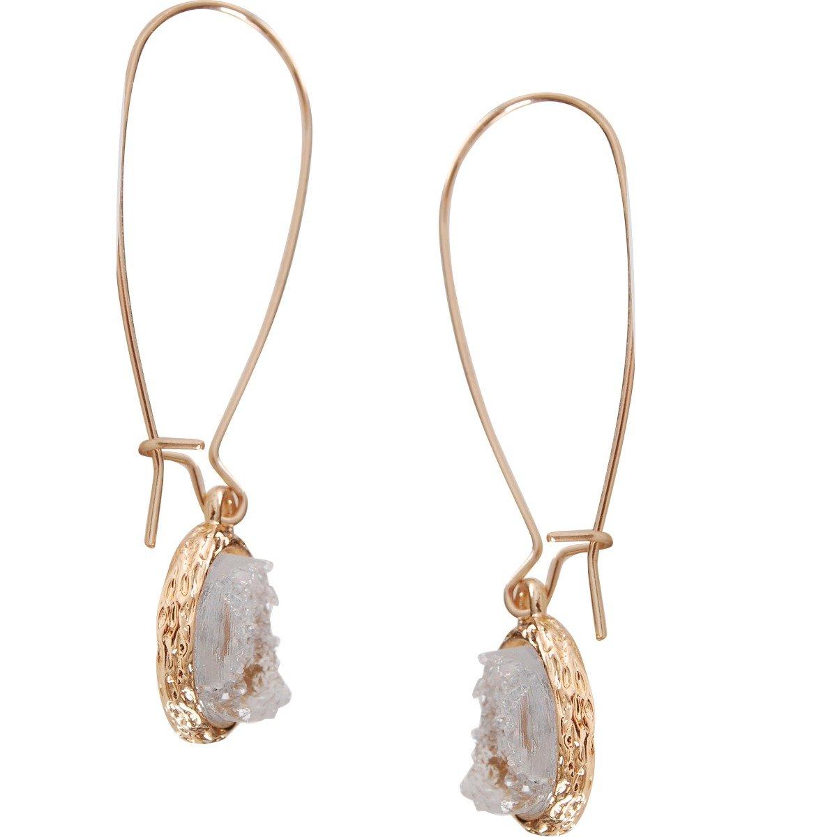 Humble Chic Simulated Druzy Threaders Upside-Down Long Hoop Dangle Drop Earrings for Women