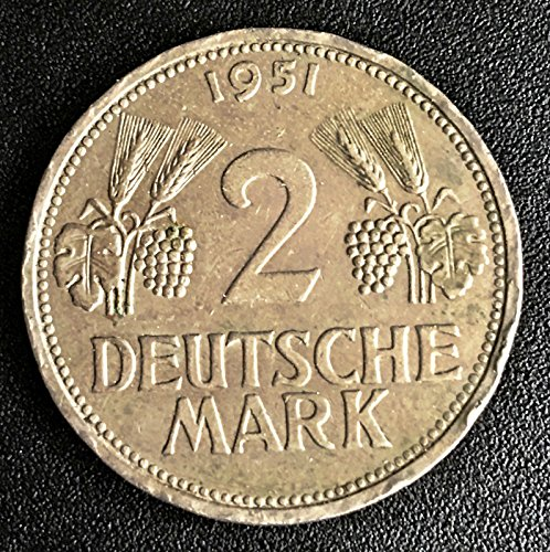 Unbranded 1951 F GERMANY 2 MARK COINHIGH GRADE B3D69