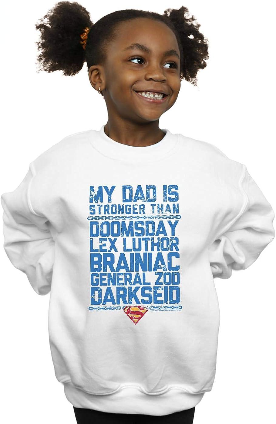 DC Comics Niñas Superman My Dad Is Stronger Than Camisa De Entrenamiento Blanco 7-8 Years: Amazon.es: Ropa y accesorios