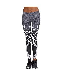 RAISINGTOP Women Printed Tree Sports Yoga Pants Workout Gym Fitness Exercise Athletic Trouser Tight Leggings Juniors (Gray, M)