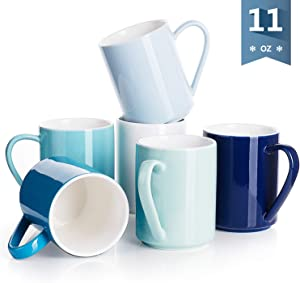 Sweese 603.003 Porcelain Coffee Mug Set - 11 Ounce for Coffee, Tea, Cocoa and Mulled Drinks - Set of 6, Cool Assorted Colors
