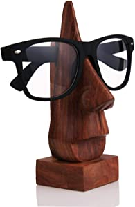 Sharvgun Wooden Hand Carved Classic Sheesham Wood Nose-Shaped Eyeglass Spectacle Holder Perfect for Home and Office Decor 6 Inch