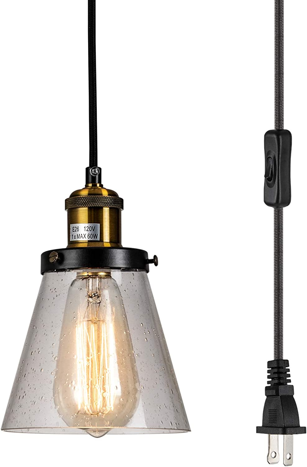 Sydtop Modern Mini Pendant Light Clear Seeded Glass Shade With 13ft Plug In Cord And On Off Switch Adjustable Vintage Farmhouse Hanging Lamp For Kitchen Island Sink Counter Bar Loft Amazon Com