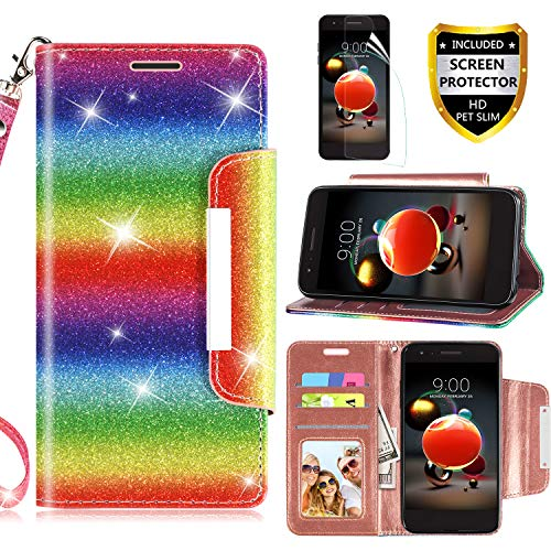 RioGree LG Aristo 2 Case, LG Aristo 3/Rebel 4 LTE/Aristo 2 Plus/Tribute Dynasty/Empire/Zone 4/Phoenix 4/Fortune 2/Risio 3/K8 Plus + 2018 Phone Case, with Screen Protector Kickstand Boys Girls, Rainbow
