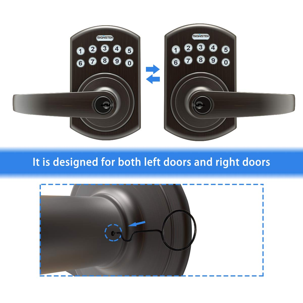 Signstek Keypad Entry Lever Door Lock with LED Backlit Keypad Password/Key Accessibles, Oil Rubbed Bronze by Signstek (Image #2)