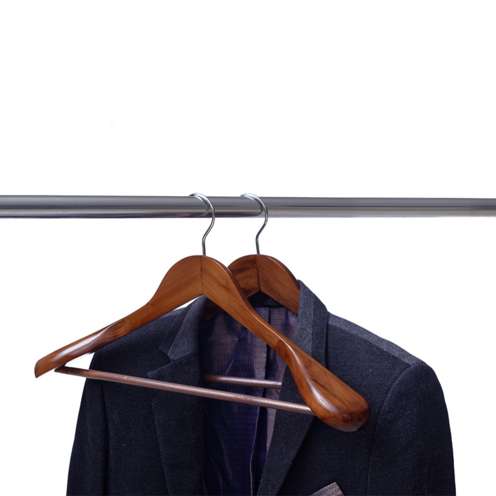 Ezihom Clothes Hangers Gugertree Wooden Suit Hangers with Extra-Wide Shoulder, Retro Finish, Wood Coat Hangers, Pant Hangers, 5pcs/Pack by Ezihom (Image #5)