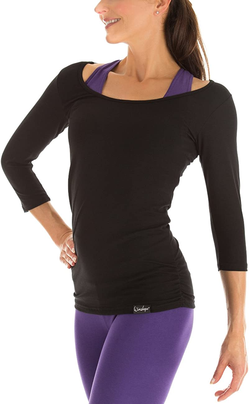 Winshape Womens Fitness Yoga Pilates 3//4-Sleeved Shirt WS4 black Fitness Yoga Pilates Arm Shirt Large Womens