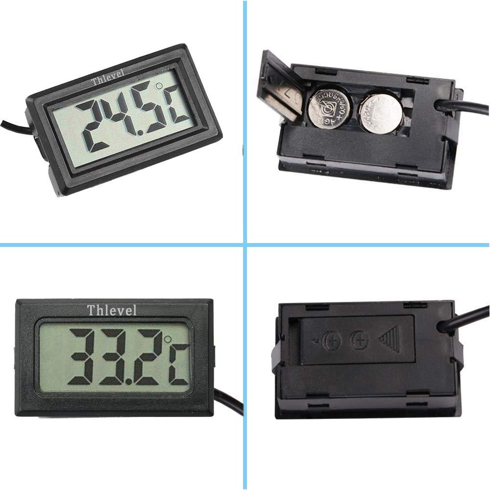 congelador Acuario refrigerador Thlevel 4X Monitor LCD de Temperatura con term/ómetro Digital y sonda Externa para refrigerador 2X Blanco 2X Negro
