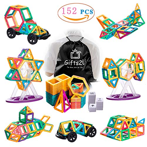 Gifts2U Magnetic Building Blocks Set-152PCS Creative Magnetic Tiles Building Kit Preschool Educational Construction Kit Magnet Stacking Toys for Kids Toddlers Boys Girls by Gifts2U (Image #9)