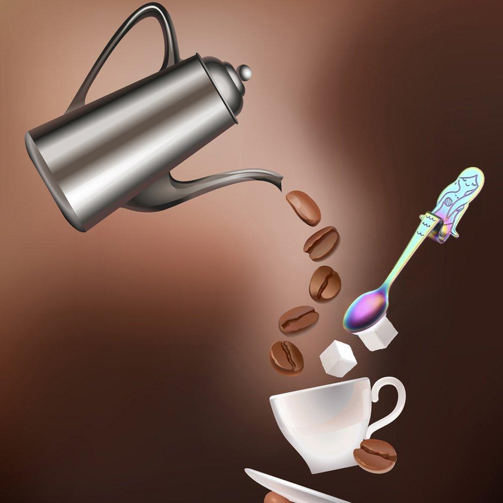 Lwestine 4Pcs Stainless Steel Dessert Spoon, Mermaid Coffee Spoons, Leisurely Afternoon Tea Time by Lwestine (Image #3)