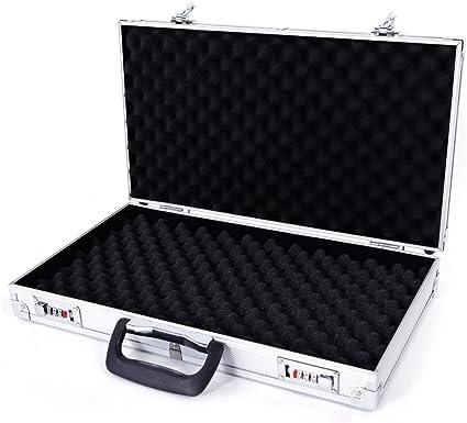 Aluminum Framed Gun Case Pistol Handgun Lock Box Silver Portable With Black Foam Cases