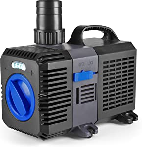 Flexzion Pond Pump Submersible Adjustable Flow Inline Aquarium Fountain Waterfall Koi Fish Salt Fresh Water Filter with Set of Outlet Adapter