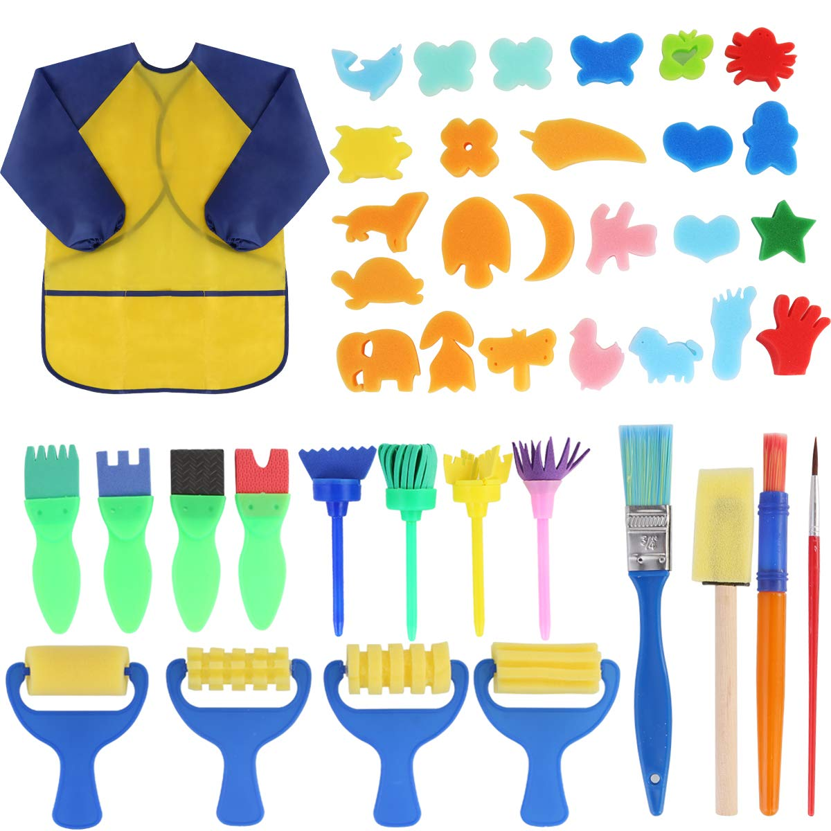 Early Learning Kids Paint Set,42pcs Sponge Painting Brushes Kit Sponge Drawing Paint Tools for Toddler with Painting Smock Apron by Yinuoday