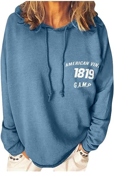 Vectry Camisa Mujer Mujeres Imprimir SeñOras Sueltas Top De Manga Larga Sudadera con Capucha Sudadera Blusa Camisa Otoño Verano Playa Y Fiesta: Amazon.es: Ropa y accesorios