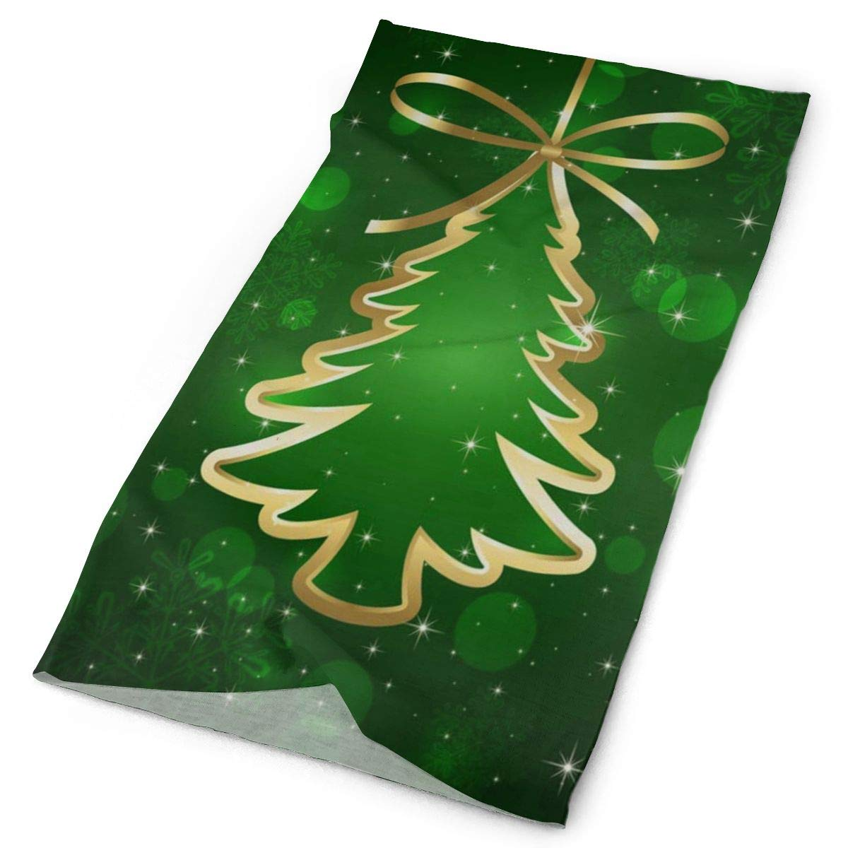 Christmas Sports Background.Headband Green Background Christmas Tree Outdoor Scarf Mask