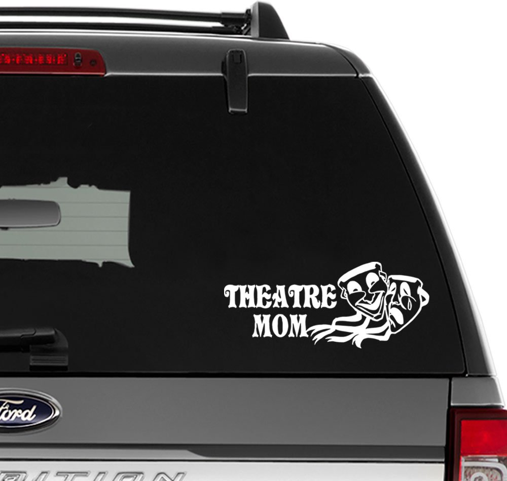 Theatre mom mask comedy vinyl decal sticker for wall decor windows laptop car truck motorcycle vehicles size 6 inch 15 cm wide gloss black color