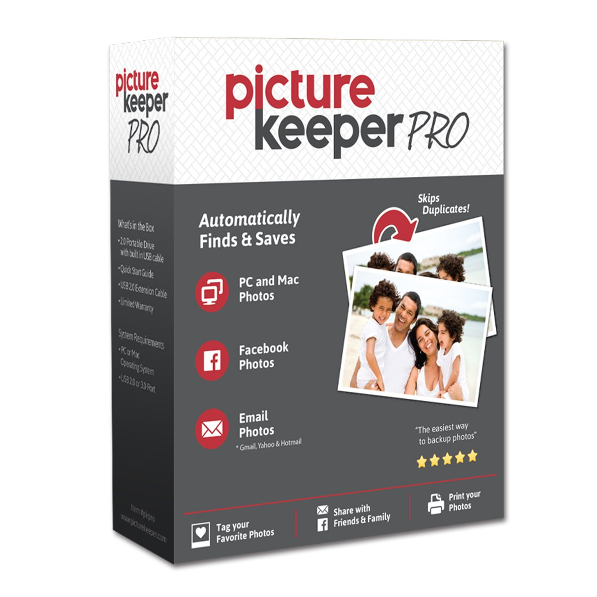 Picture Keeper PRO 500GB Portable Flash Drive Photo Music Video File Backup and Storage USB Device for PC and MAC Computers
