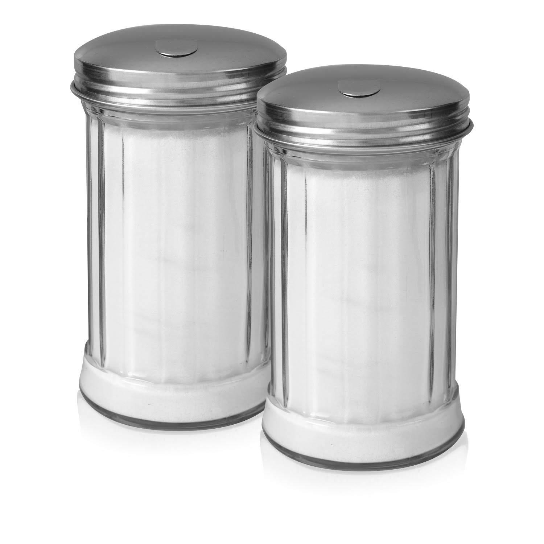Klee Utensils Sugar Dispenser - Retro Style Glass Jar with Stainless Steel Side Cap Dishwasher Safe for Home & Restaurant Use ... (2) by KLEE UTENSILS
