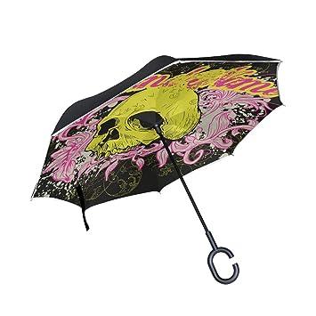 MALPLENA - Paraguas de cabeza de calavera amarilla con apertura automática en la parte superior de