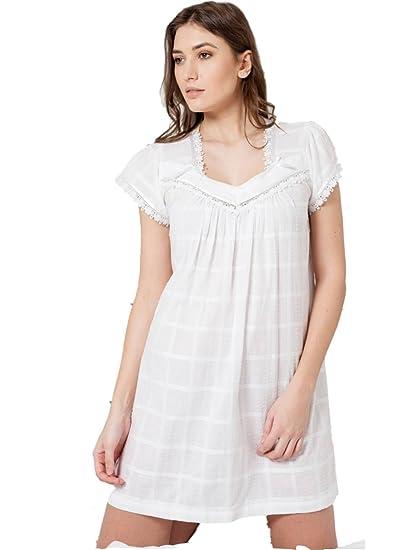 2e0f1f07da Cottonreal Peony Cotton Rasen Jacquard Schweizer Dot Cap Sleeve V Neck  Nachthemd (XS)