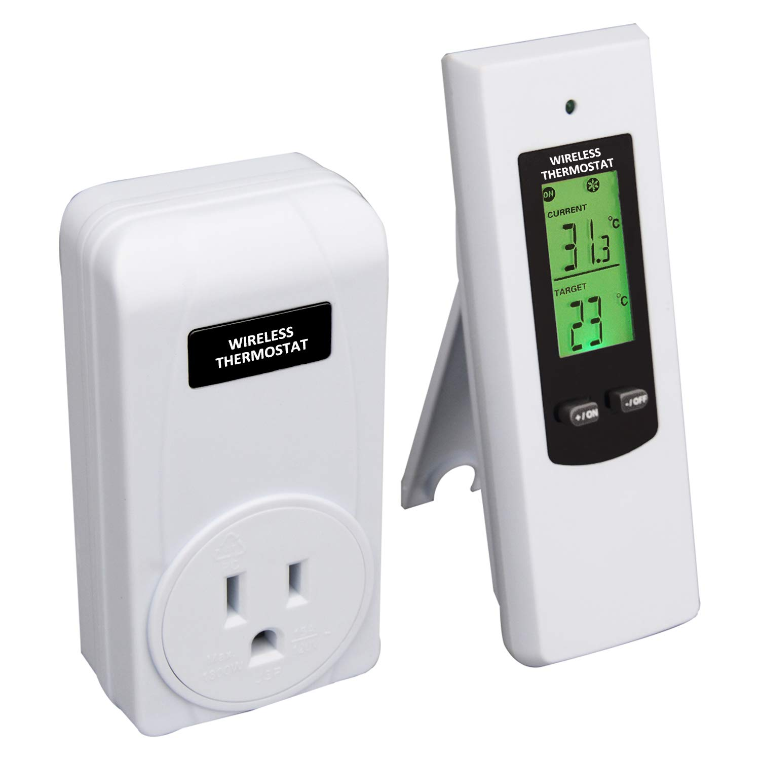Wireless Temperature Controller,Electric Outlet Thermostat with Remote Control Built in Temp Sensor 3 Prong Plug Heating Cooling Mode (OPS100+OTS100)