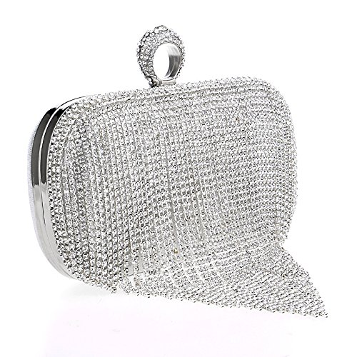 Clubs Wedding Glitter Shoulder Party Bag Gift For Diamante Bridal Prom Bag Tassel Purse Handbag Clutch Women A Evening Ladies w8fXgqZ77