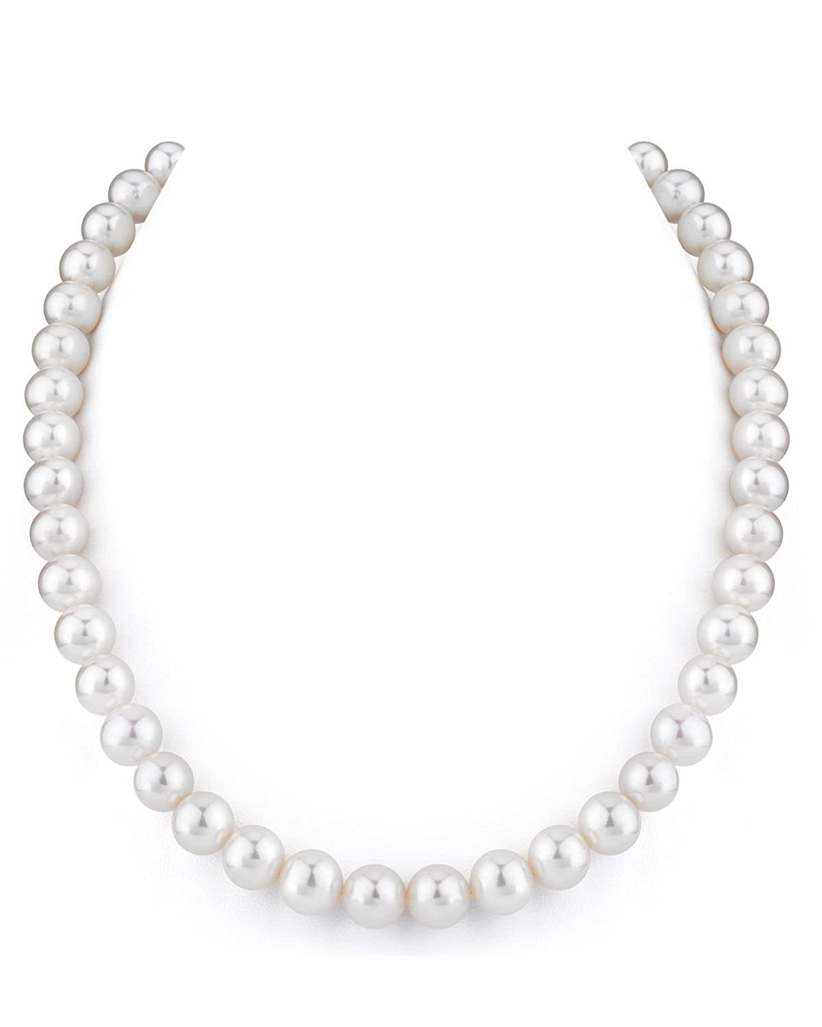 THE PEARL SOURCE 14K Gold 9-10mm AAA Quality White Freshwater Cultured Pearl Necklace for Women in 18 Princess Length