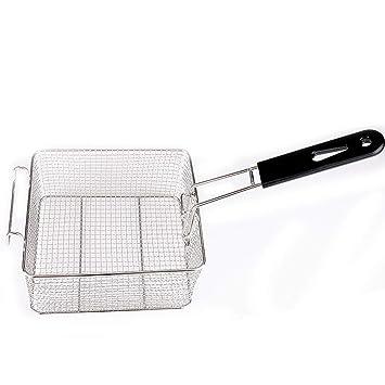 Cesta para freidoras de acero inoxidable con mango de plástico desmontable, colador de servir para el hogar y la cocina Tamaño libre 1 Pc: Amazon.es: Hogar