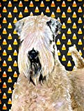 Caroline's Treasures SS4281CHF Wheaten Terrier Soft Coated Candy Corn Halloween Flag Canvas, Large, Multicolor