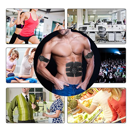 Charminer B0743DFQ4J Muscle Toner, Abdominal Toning Belt, EMS Abs Trainer Wireless Body Gym Workout Home Office Fitness Equipment for Abdomen/Arm/Leg Training Men Women