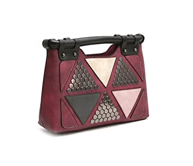 6bceba1a9412e Amazon.com  Callibag Square Structured Design Stitching Pattern Womens  Shoulder Cross body Tote Evening Bag With Soft Faux Leather (Wine)  Shoes