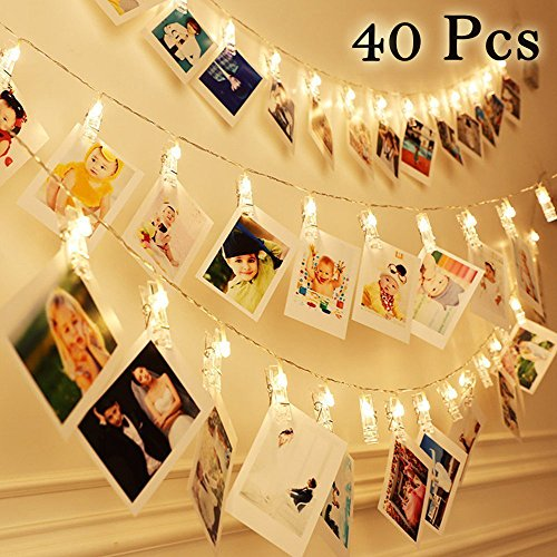 ights 40 LED Warm White - Battery Powered Hanging Photo String Display String for Picture, Cards, Artwork, Home Decor Display (40 Lights) ()