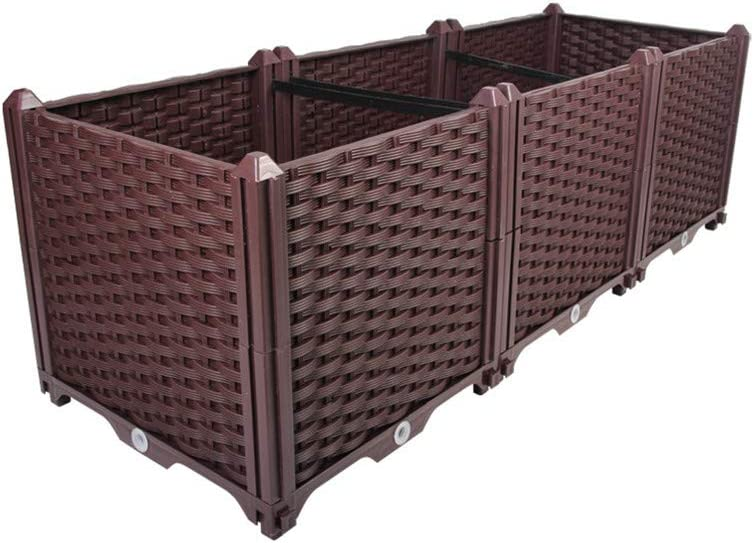 Hershii Deepened Garden Raised Bed Kits DIY Plastic Rectangular Plant Containers Indoor Outdoor Vegetables Herbs Flowers Growing Planter Box - Brown - 46.06 X 15.35 X 14.96 Inches