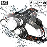 DABASO Headlamp,Adjustable Headband and 90 Degree Moving Light,Rechargeable 8000 Lumen Waterproof LED Headlight with 4 Brightness Modes for Running Camping Cycling Fishing Hunting Climbing